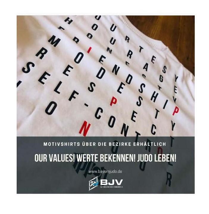 """Der Bayerische Judoverband e. V. stellt seinen Bezirken tolle Judo-T-Shirts mit dem Motto """"Judo Values"""" zur Verfügung."""